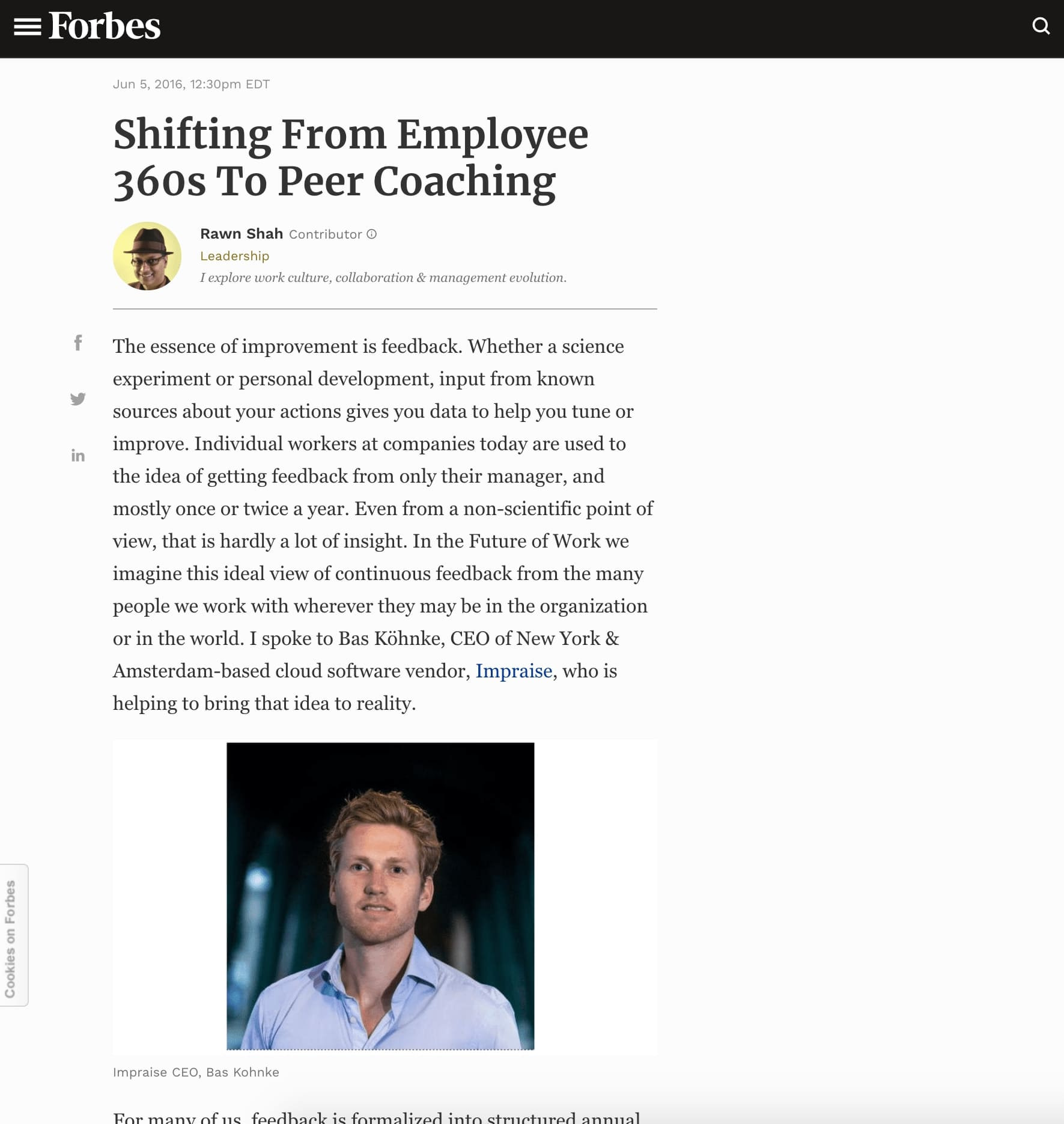 Article published at Forbes thanks to our PR Company in Amsterdam