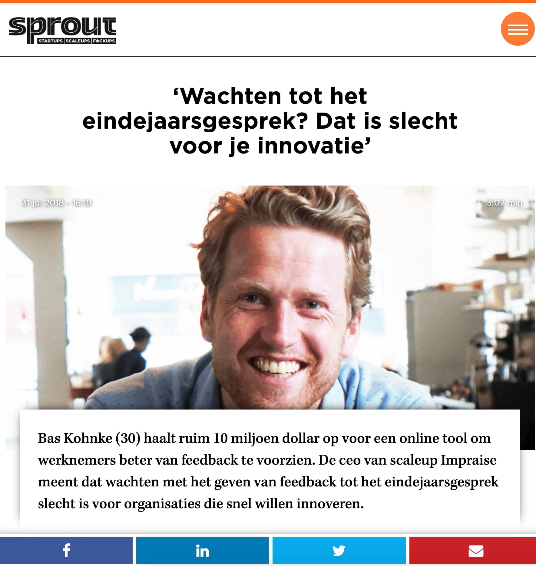 Article published at Sprout thanks to public relations for tech startups in Europe